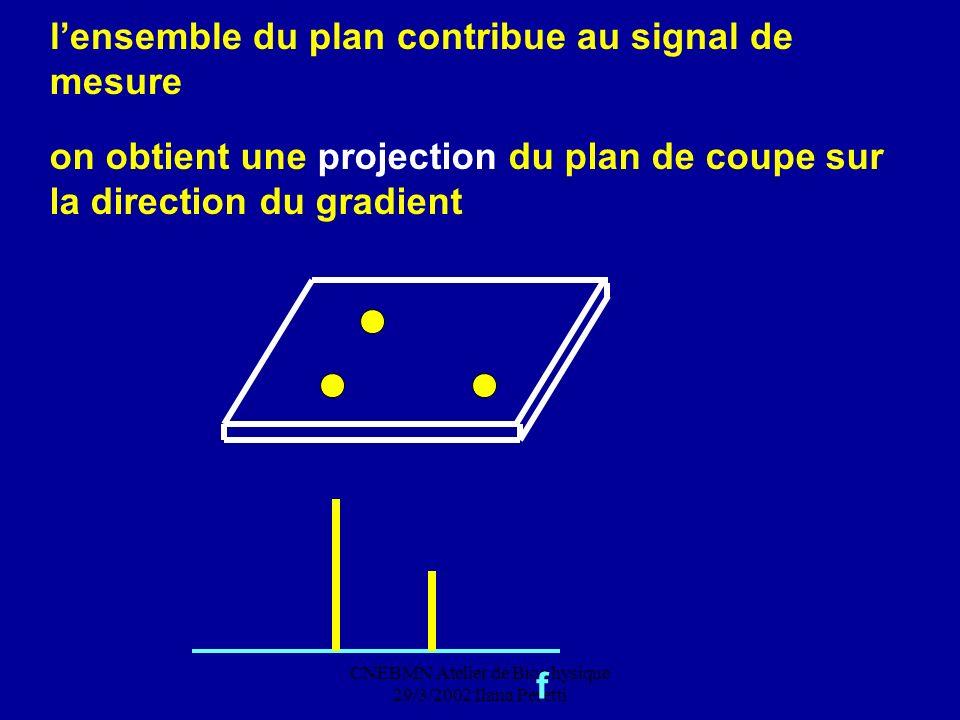 CNEBMN Atelier de Biophysique 29/3/2002 Ilana Peretti lensemble du plan contribue au signal de mesure f on obtient une projection du plan de coupe sur