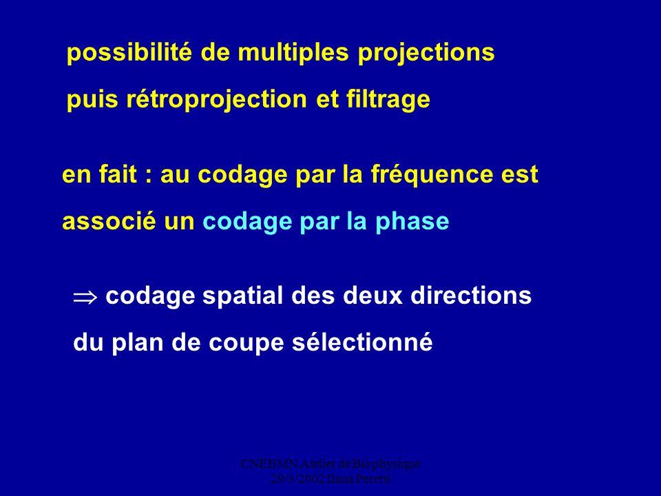CNEBMN Atelier de Biophysique 29/3/2002 Ilana Peretti possibilité de multiples projections puis rétroprojection et filtrage en fait : au codage par la