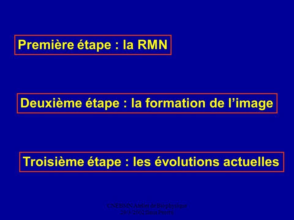 CNEBMN Atelier de Biophysique 29/3/2002 Ilana Peretti Première étape : la RMN Deuxième étape : la formation de limage Troisième étape : les évolutions