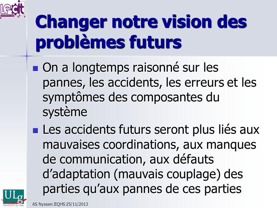 Changer notre vision des problèmes futurs On a longtemps raisonné sur les pannes, les accidents, les erreurs et les symptômes des composantes du systè