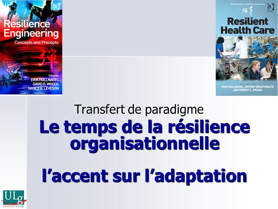 Le temps de la résilience organisationnelle laccent sur ladaptation Transfert de paradigme
