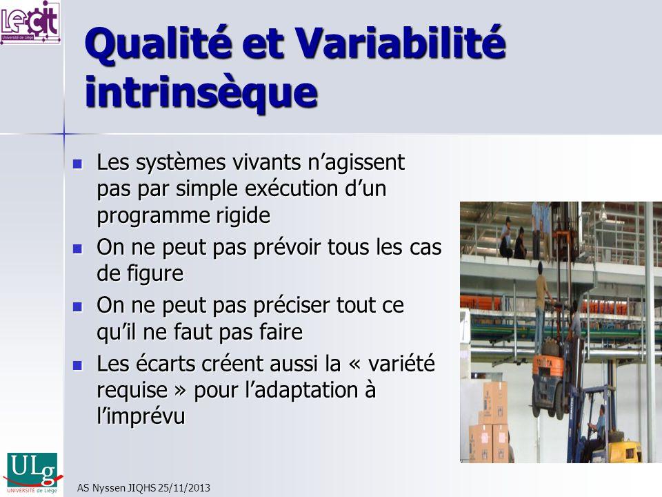Qualité et Variabilité intrinsèque Les systèmes vivants nagissent pas par simple exécution dun programme rigide Les systèmes vivants nagissent pas par