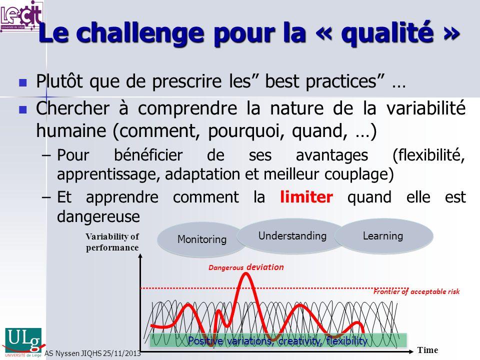 Le challenge pour la « qualité » Le challenge pour la « qualité » Plutôt que de prescrire les best practices … Chercher à comprendre la nature de la variabilité humaine (comment, pourquoi, quand, …) – –Pour bénéficier de ses avantages (flexibilité, apprentissage, adaptation et meilleur couplage) – –Et apprendre comment la limiter quand elle est dangereuse Time Variability of performance Dangerous deviation Frontier of acceptable risk Monitoring Understanding Learning Positive variations, creativity, flexibility AS Nyssen JIQHS 25/11/2013