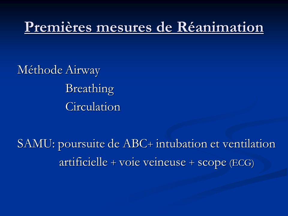 Premières mesures de Réanimation Méthode Airway Breathing Breathing Circulation Circulation SAMU: poursuite de ABC + intubation et ventilation artific