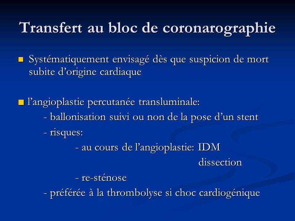 Transfert au bloc de coronarographie Systématiquement envisagé dès que suspicion de mort subite dorigine cardiaque Systématiquement envisagé dès que s
