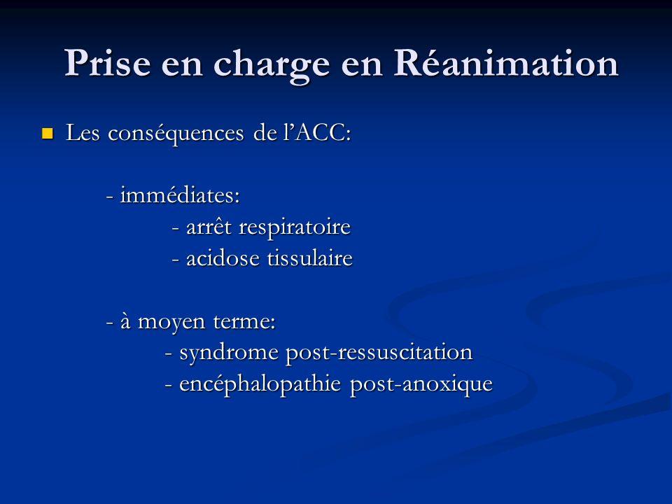 Prise en charge en Réanimation Prise en charge en Réanimation Les conséquences de lACC: Les conséquences de lACC: - immédiates: - immédiates: - arrêt