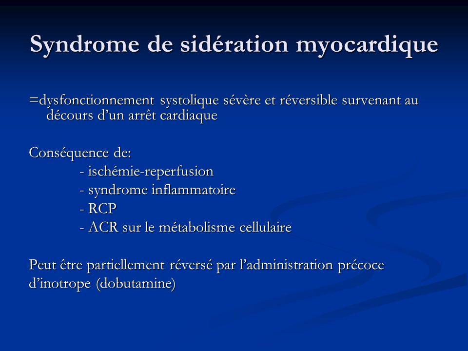 Syndrome de sidération myocardique =dysfonctionnement systolique sévère et réversible survenant au décours dun arrêt cardiaque Conséquence de: - isché