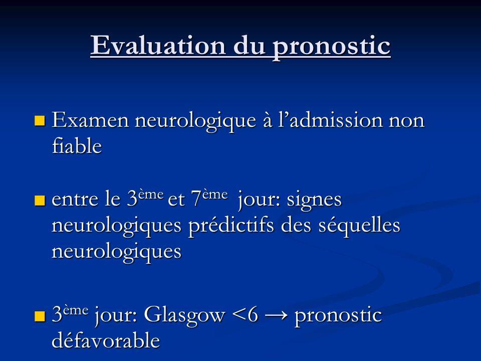 Evaluation du pronostic Examen neurologique à ladmission non fiable Examen neurologique à ladmission non fiable entre le 3 ème et 7 ème jour: signes n