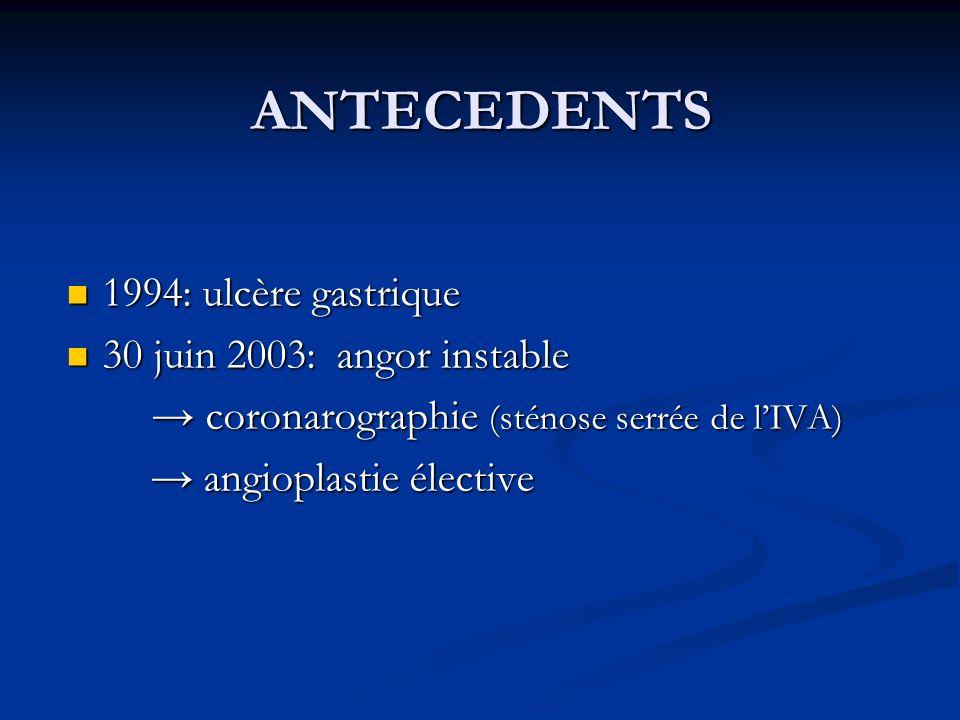 ANTECEDENTS 1994: ulcère gastrique 1994: ulcère gastrique 30 juin 2003: angor instable 30 juin 2003: angor instable coronarographie (sténose serrée de