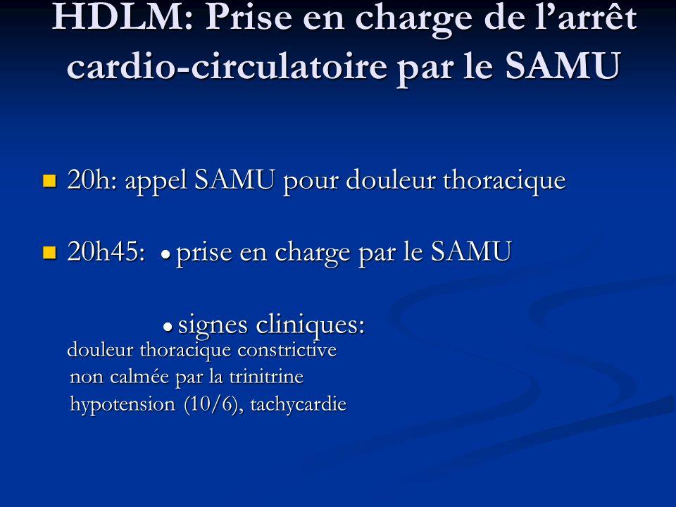 HDLM: Prise en charge de larrêt cardio-circulatoire par le SAMU 20h: appel SAMU pour douleur thoracique 20h: appel SAMU pour douleur thoracique 20h45:
