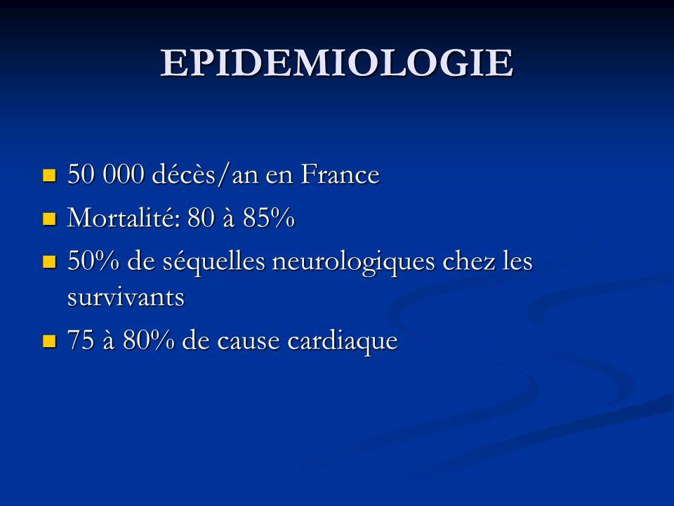 EPIDEMIOLOGIE 50 000 décès/an en France 50 000 décès/an en France Mortalité: 80 à 85% Mortalité: 80 à 85% 50% de séquelles neurologiques chez les surv