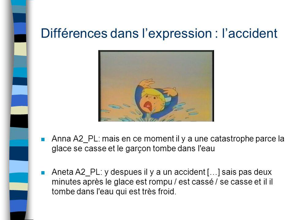 Différences dans lexpression : laccident n Agnieszka A1_PL:e: la glace a brisé alors il [/] il s'est trouvé dans l'eau qui était terriblement froide.