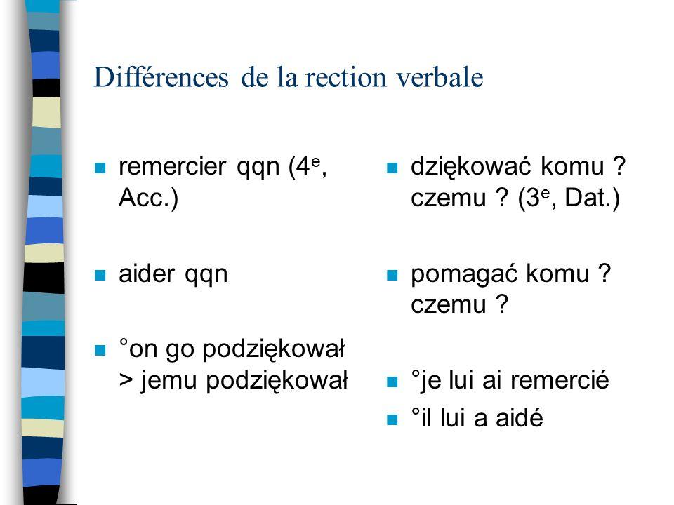 Différences de la rection verbale n remercier qqn (4 e, Acc.) n aider qqn n °on go podziękował > jemu podziękował n dziękować komu .