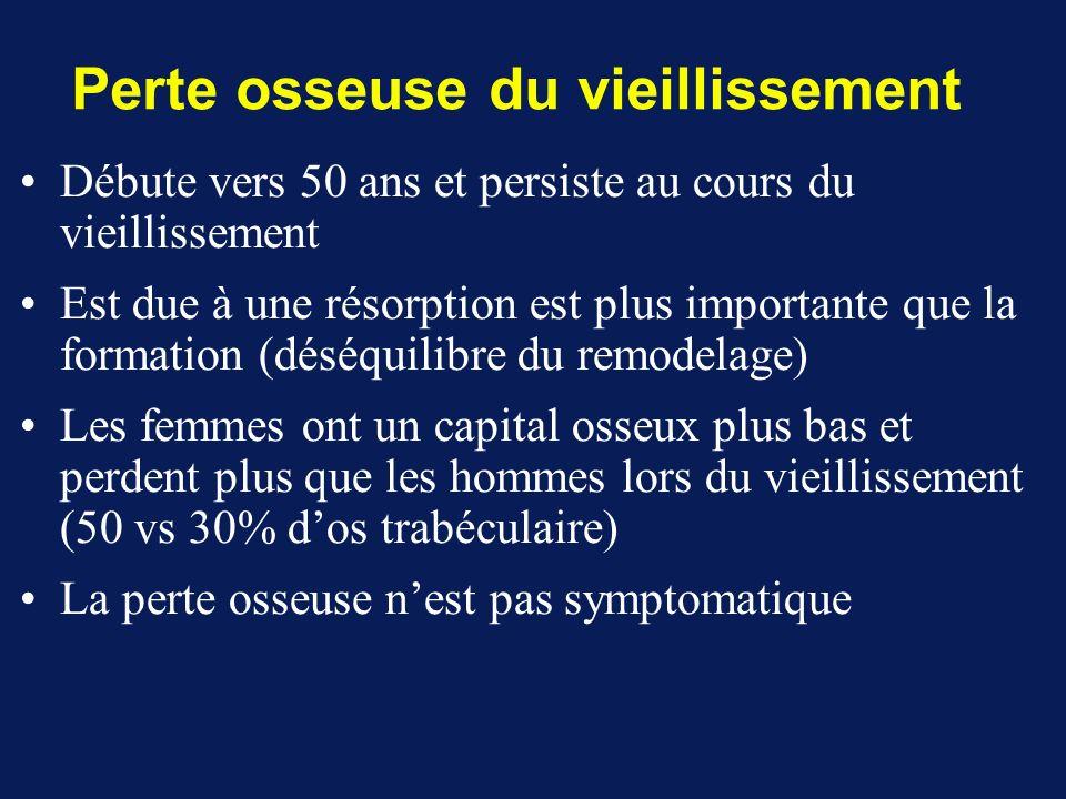 Débute vers 50 ans et persiste au cours du vieillissement Est due à une résorption est plus importante que la formation (déséquilibre du remodelage) L