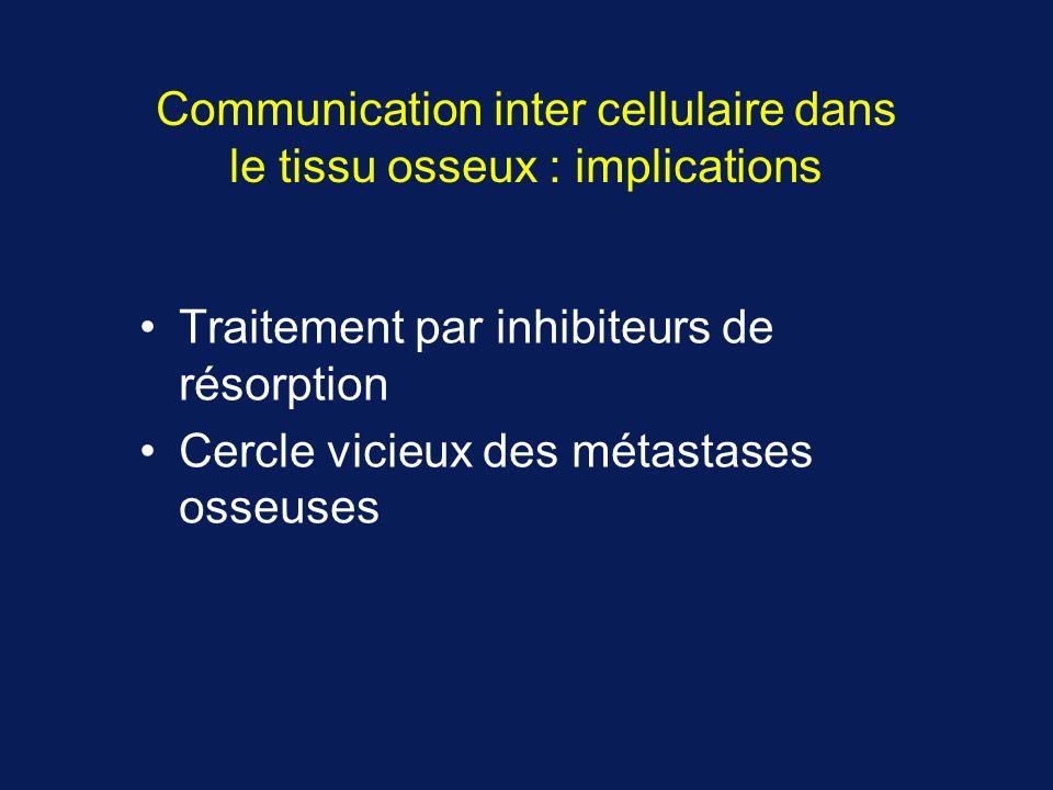 Communication inter cellulaire dans le tissu osseux : implications Traitement par inhibiteurs de résorption Cercle vicieux des métastases osseuses