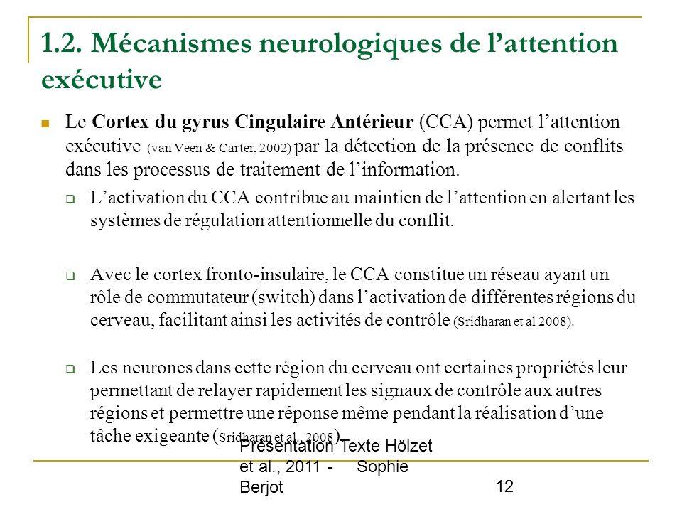 Présentation Texte Hölzet et al., 2011 - Sophie Berjot 12 1.2. Mécanismes neurologiques de lattention exécutive Le Cortex du gyrus Cingulaire Antérieu