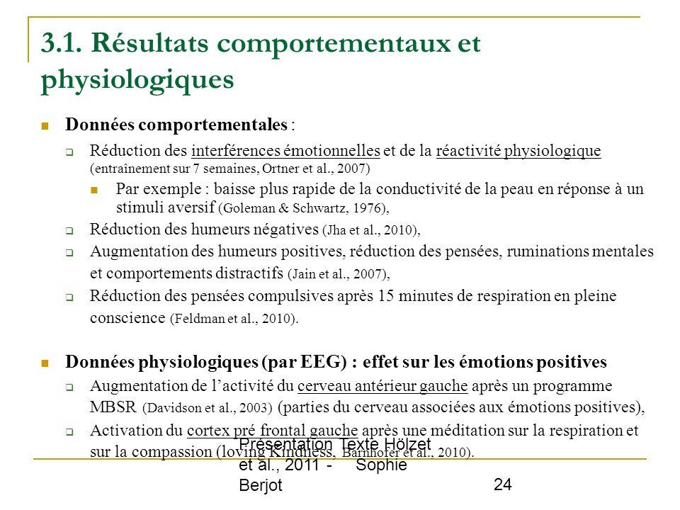 Présentation Texte Hölzet et al., 2011 - Sophie Berjot 24 3.1. Résultats comportementaux et physiologiques Données comportementales : Réduction des in