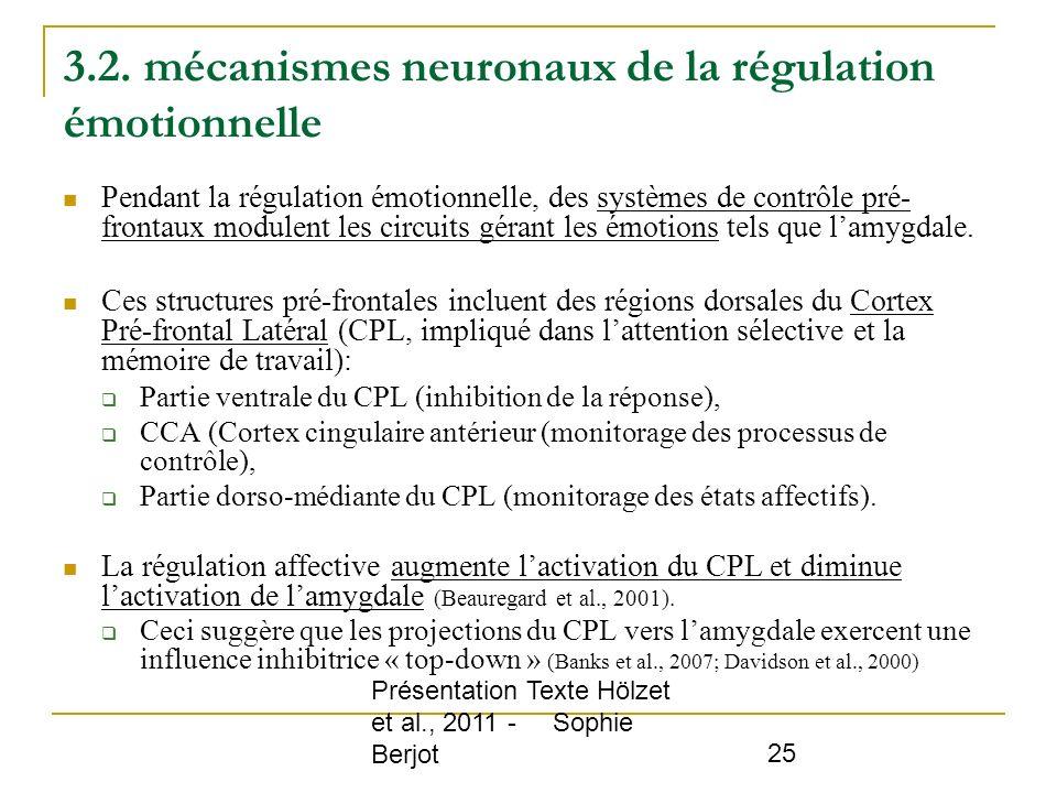 Présentation Texte Hölzet et al., 2011 - Sophie Berjot 25 3.2. mécanismes neuronaux de la régulation émotionnelle Pendant la régulation émotionnelle,