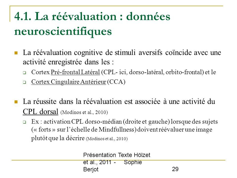 Présentation Texte Hölzet et al., 2011 - Sophie Berjot 29 4.1. La réévaluation : données neuroscientifiques La réévaluation cognitive de stimuli avers