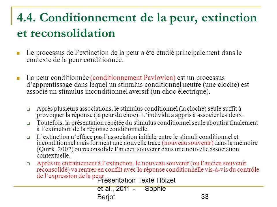 Présentation Texte Hölzet et al., 2011 - Sophie Berjot 33 4.4. Conditionnement de la peur, extinction et reconsolidation Le processus de lextinction d