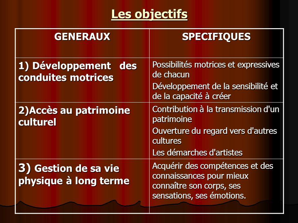 Les objectifs GENERAUXSPECIFIQUES 1) Développement des conduites motrices Possibilités motrices et expressives de chacun Développement de la sensibili