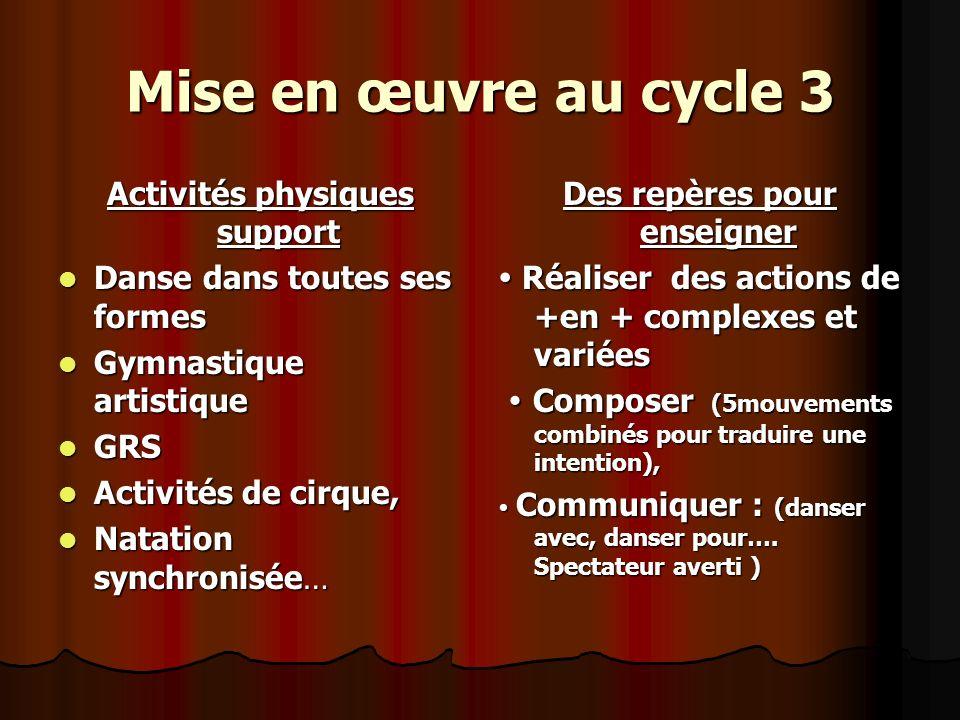 Mise en œuvre au cycle 3 Activités physiques support Danse dans toutes ses formes Danse dans toutes ses formes Gymnastique artistique Gymnastique arti