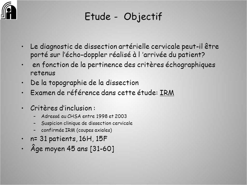 Etude - Objectif Le diagnostic de dissection artérielle cervicale peut-il être porté sur lécho-doppler réalisé à l arrivée du patient? en fonction de