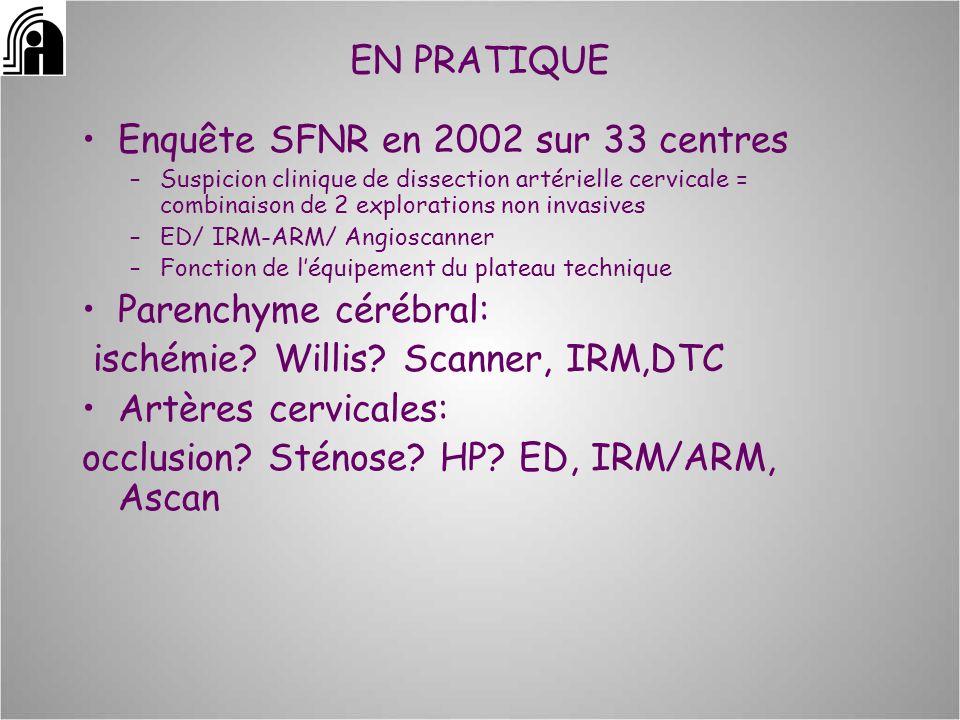 EN PRATIQUE Enquête SFNR en 2002 sur 33 centres –Suspicion clinique de dissection artérielle cervicale = combinaison de 2 explorations non invasives –