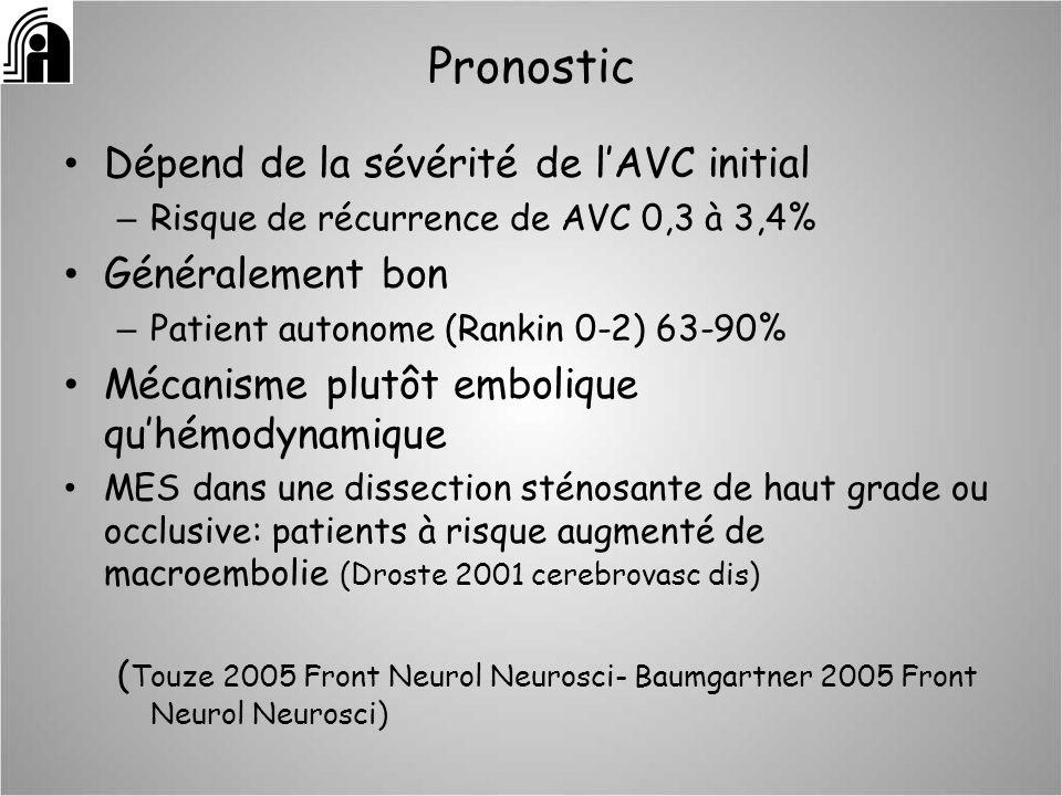 Pronostic Dépend de la sévérité de lAVC initial – Risque de récurrence de AVC 0,3 à 3,4% Généralement bon – Patient autonome (Rankin 0-2) 63-90% Mécan