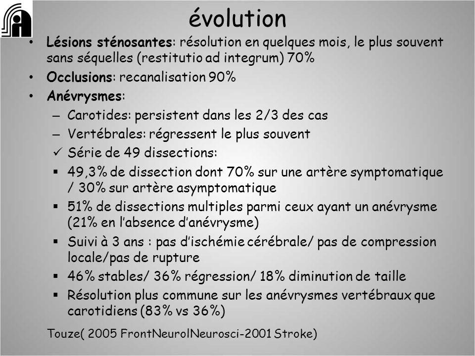 évolution Lésions sténosantes: résolution en quelques mois, le plus souvent sans séquelles (restitutio ad integrum) 70% Occlusions: recanalisation 90%