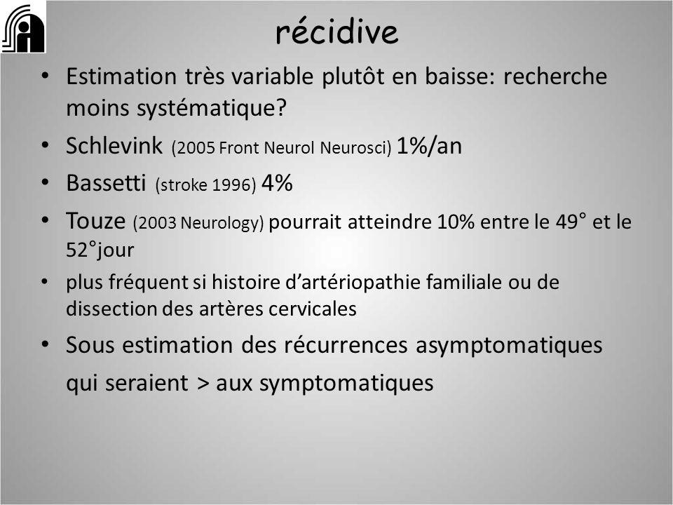 récidive Estimation très variable plutôt en baisse: recherche moins systématique? Schlevink (2005 Front Neurol Neurosci) 1%/an Bassetti (stroke 1996)