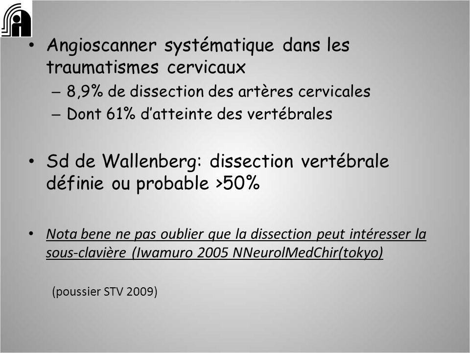 Pronostic Dépend de la sévérité de lAVC initial – Risque de récurrence de AVC 0,3 à 3,4% Généralement bon – Patient autonome (Rankin 0-2) 63-90% Mécanisme plutôt embolique quhémodynamique MES dans une dissection sténosante de haut grade ou occlusive: patients à risque augmenté de macroembolie (Droste 2001 cerebrovasc dis) ( Touze 2005 Front Neurol Neurosci- Baumgartner 2005 Front Neurol Neurosci)