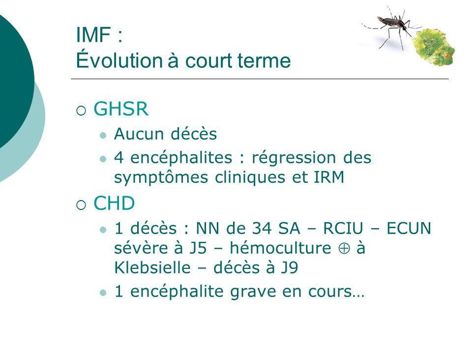 Infections Post-Natales Symptômes > J7 notamment 2 e moitié du premier mois probable contamination par piqûre de moustique 7 cas prouvés au 03/02/06 (GHSR 4 cas – CHD 3 cas) tous RT-PCR dans le sérum Profil clinique commun : Fièvre Syndrome algique intense difficultés dalimentation Éruption avec parfois lésions bulleuses (1 pseudo-Lyell au GHSR) Œdèmes des extrémités Thrombopénie parfois (GHSR) 2 admissions en Réa (GHSR)