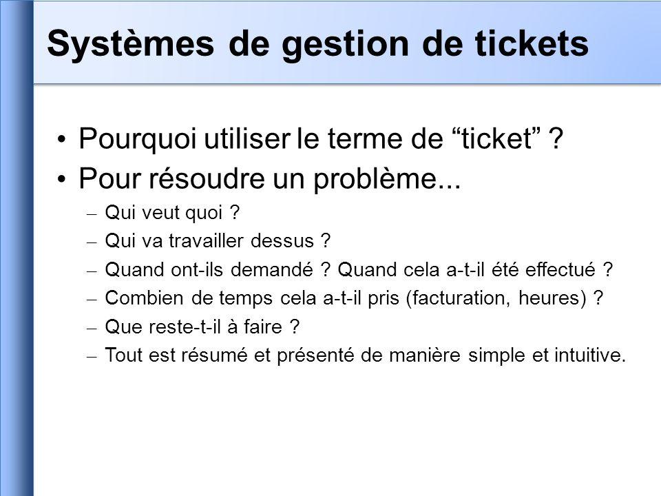 Pourquoi utiliser le terme de ticket ? Pour résoudre un problème... – Qui veut quoi ? – Qui va travailler dessus ? – Quand ont-ils demandé ? Quand cel