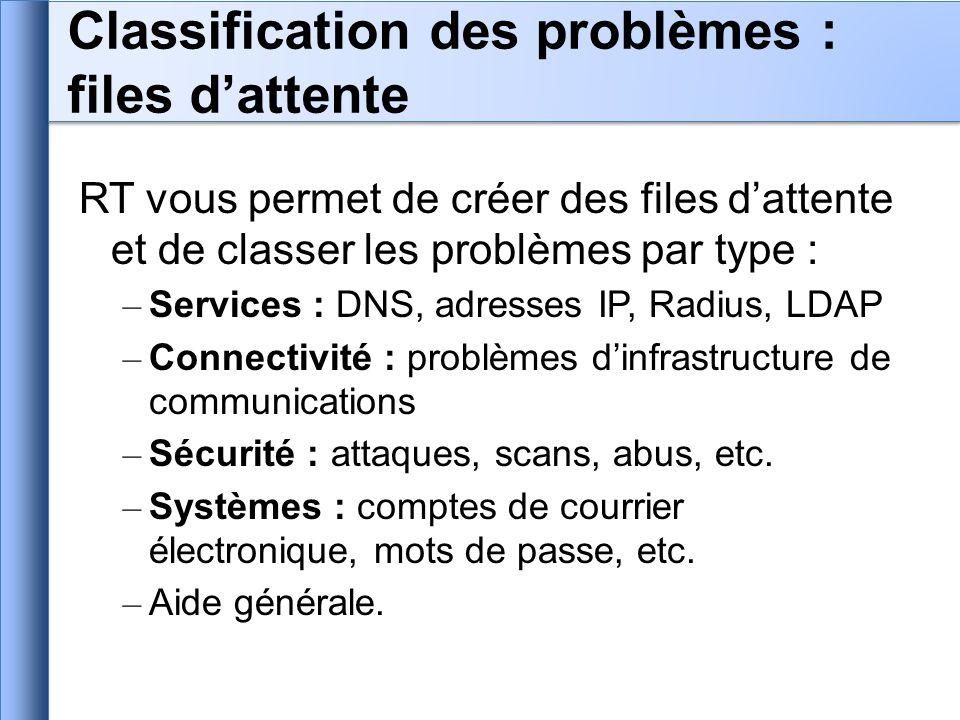 RT vous permet de créer des files dattente et de classer les problèmes par type : – Services : DNS, adresses IP, Radius, LDAP – Connectivité : problèm