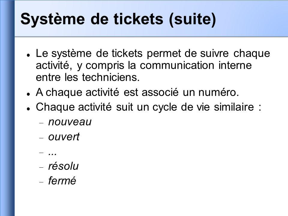 Le système de tickets permet de suivre chaque activité, y compris la communication interne entre les techniciens. A chaque activité est associé un num
