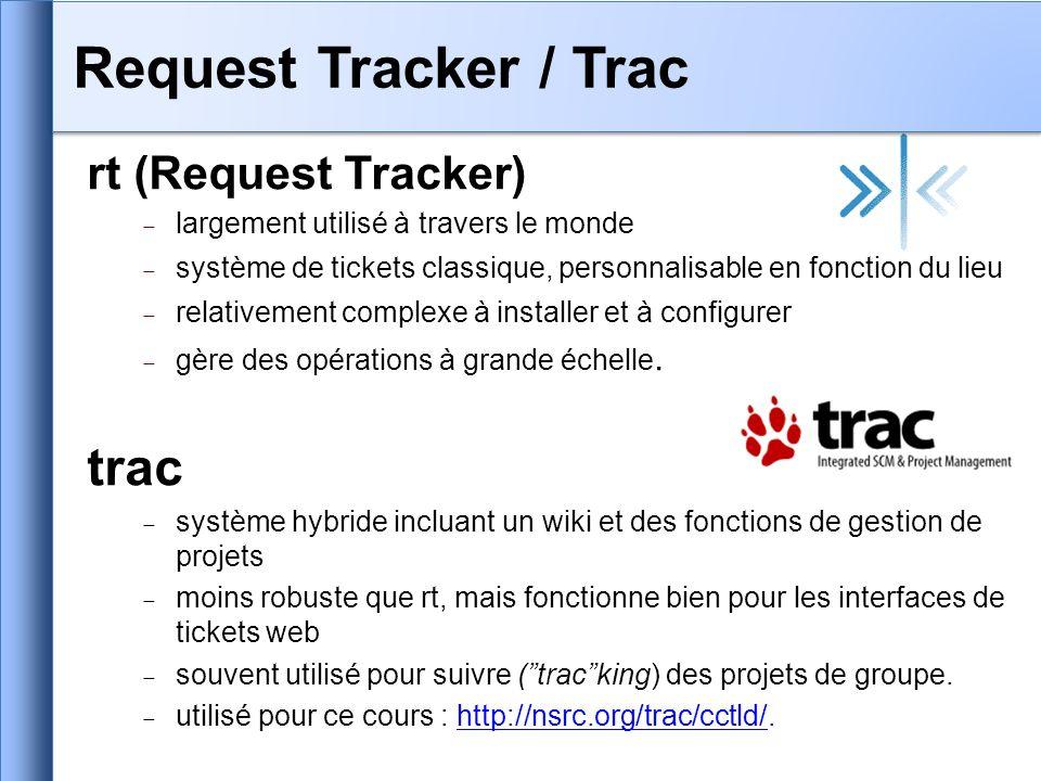 RT vous permet de créer des files dattente et de classer les problèmes par type : – Services : DNS, adresses IP, Radius, LDAP – Connectivité : problèmes dinfrastructure de communications – Sécurité : attaques, scans, abus, etc.