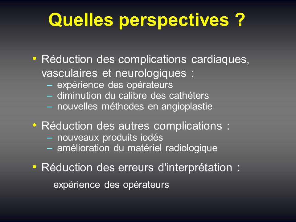 Quelles perspectives ? Réduction des complications cardiaques, vasculaires et neurologiques : – expérience des opérateurs – diminution du calibre des