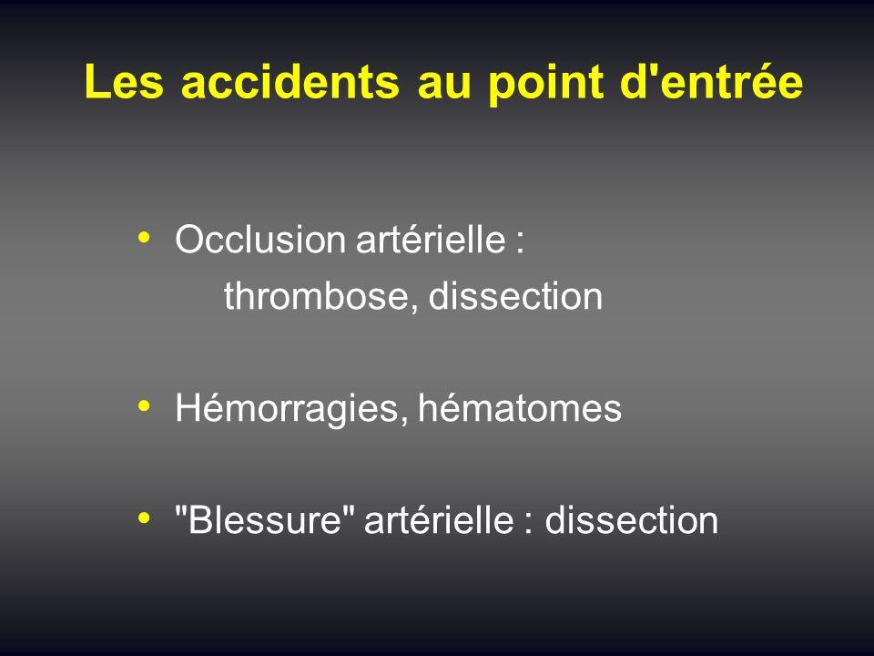 Les accidents au point d'entrée Occlusion artérielle : thrombose, dissection Hémorragies, hématomes