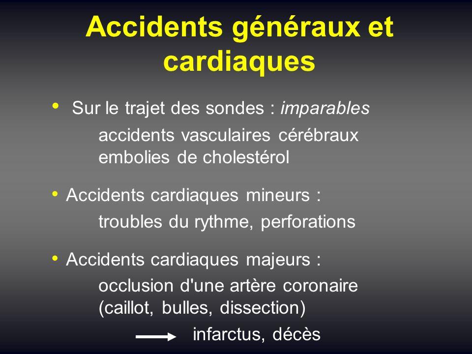 Accidents généraux et cardiaques Sur le trajet des sondes : imparables accidents vasculaires cérébraux embolies de cholestérol Accidents cardiaques mi