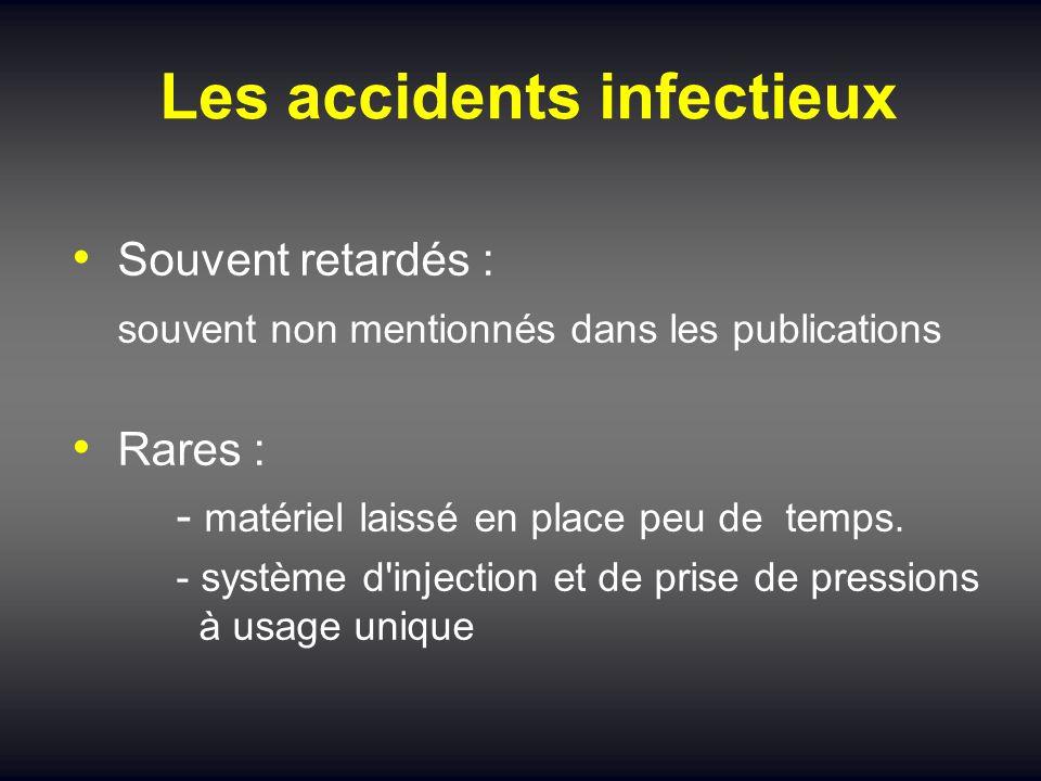 Les accidents infectieux Souvent retardés : souvent non mentionnés dans les publications Rares : - matériel laissé en place peu de temps. - système d'