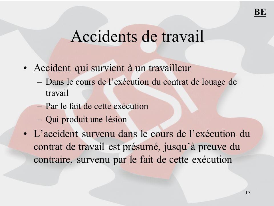 13 Accidents de travail Accident qui survient à un travailleur –Dans le cours de lexécution du contrat de louage de travail –Par le fait de cette exéc