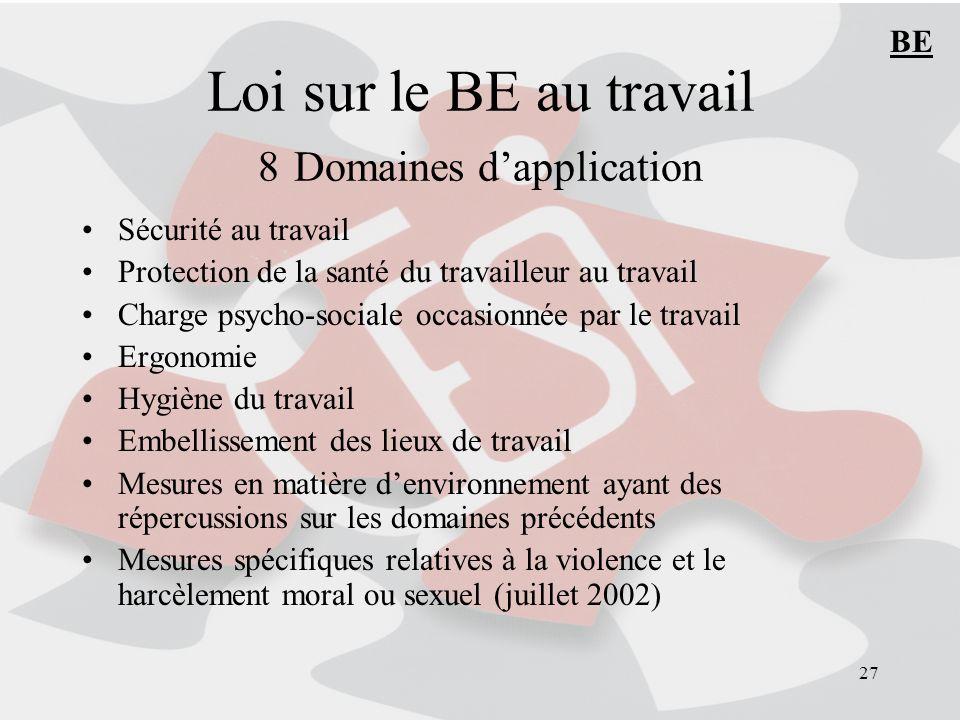 27 Loi sur le BE au travail 8 Domaines dapplication Sécurité au travail Protection de la santé du travailleur au travail Charge psycho-sociale occasio