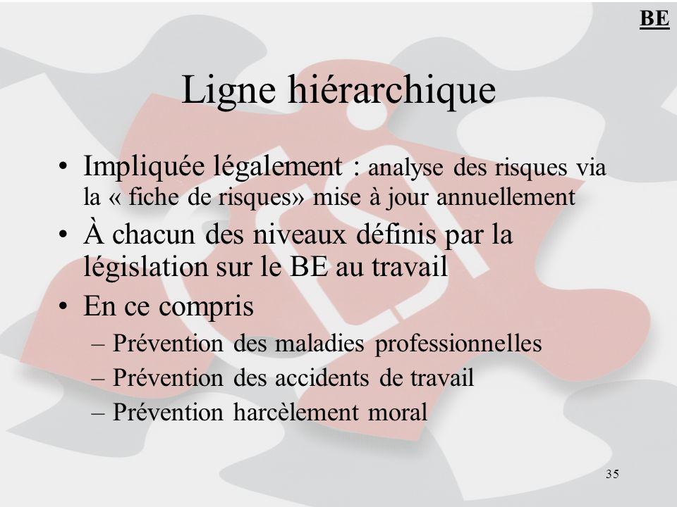 35 Ligne hiérarchique Impliquée légalement : analyse des risques via la « fiche de risques» mise à jour annuellement À chacun des niveaux définis par