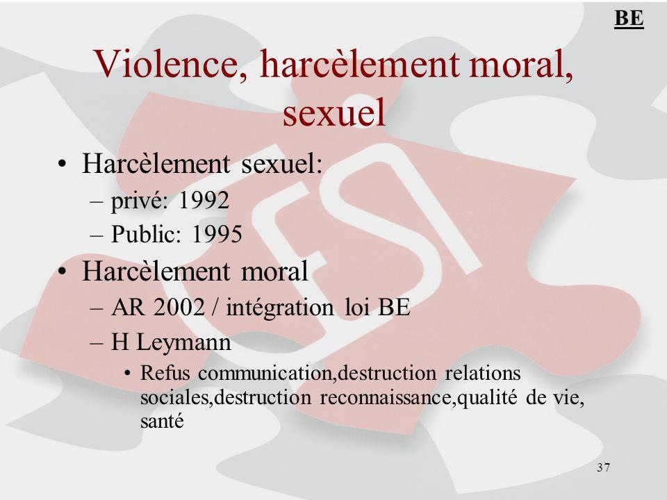 37 Violence, harcèlement moral, sexuel Harcèlement sexuel: –privé: 1992 –Public: 1995 Harcèlement moral –AR 2002 / intégration loi BE –H Leymann Refus