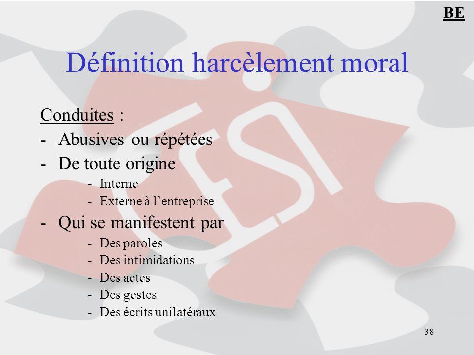 38 Définition harcèlement moral Conduites : -Abusives ou répétées -De toute origine -Interne -Externe à lentreprise -Qui se manifestent par -Des parol