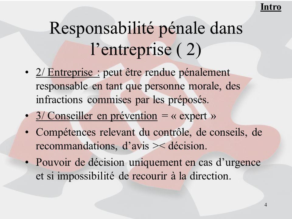 4 Responsabilité pénale dans lentreprise ( 2) 2/ Entreprise : peut être rendue pénalement responsable en tant que personne morale, des infractions com