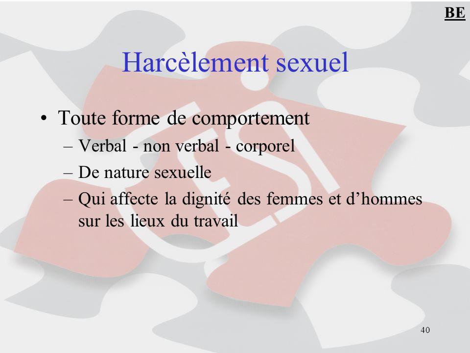 40 Harcèlement sexuel Toute forme de comportement –Verbal - non verbal - corporel –De nature sexuelle –Qui affecte la dignité des femmes et dhommes sur les lieux du travail BE