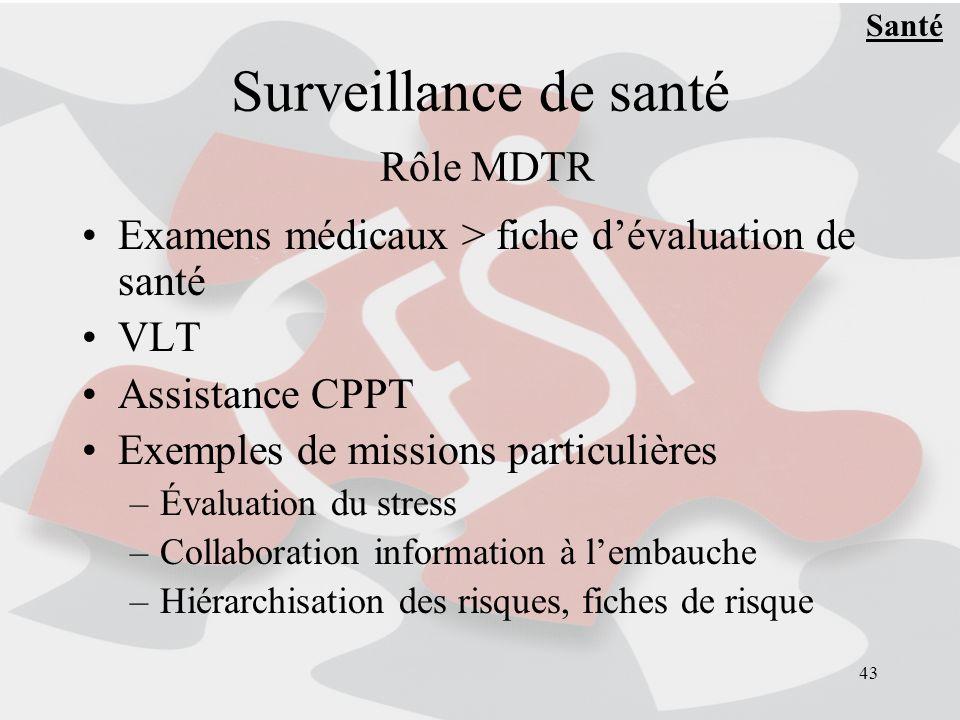 43 Surveillance de santé Rôle MDTR Examens médicaux > fiche dévaluation de santé VLT Assistance CPPT Exemples de missions particulières –Évaluation du