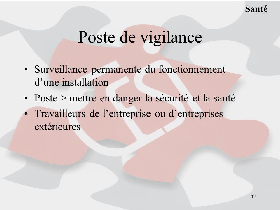 47 Poste de vigilance Surveillance permanente du fonctionnement dune installation Poste > mettre en danger la sécurité et la santé Travailleurs de lentreprise ou dentreprises extérieures Santé